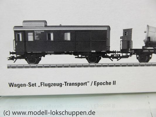 Märklin 45097 Wagen-Set - 6 Flachwagen und 1 Güterzug-BegleitwagenDRG Flugzeug-Transport Me 109    2