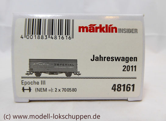 "nsider-Wagen 2011: Gedeckter Güterwagen ""Kuba-Imperial"" / Märklin 48161     1"