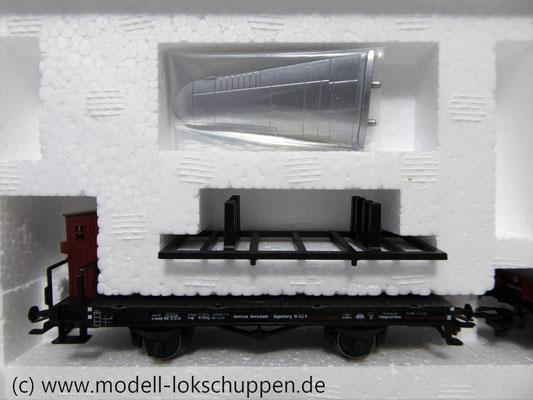Märklin 45097 Wagen-Set - 6 Flachwagen und 1 Güterzug-BegleitwagenDRG Flugzeug-Transport Me 109    4