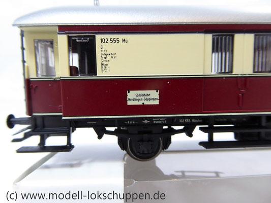 """Märklin 43151 / Einheitsnebenbahnwagen Postwagen Pwi der DB Sonderfahrt """"Nördlingen - Göppingen""""    3"""