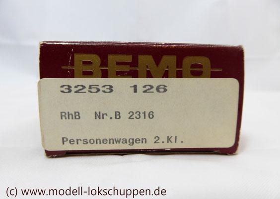 Bemo 3253 126 - Personenwagen 2 Klasse - EW I Arosa Signet - B 2316 - RhB - H0m