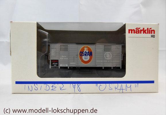 """Insider-Wagen 1997 Gedeckter Güterwagen mit Flachdach """"Osram"""" / H0 Märklin 48853     3"""