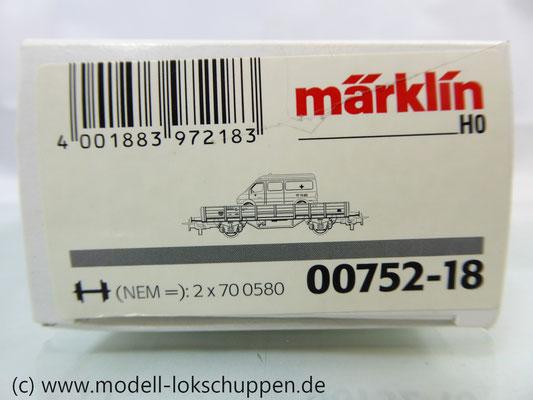 Märklin 00752-18 Niederbordwagen der DB mit MB Krankenwagen