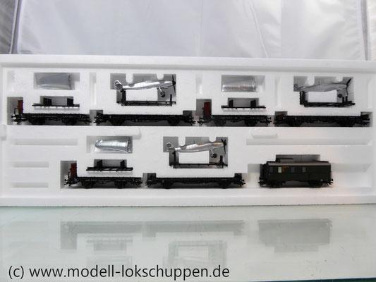 Märklin 45097 Wagen-Set - 6 Flachwagen und 1 Güterzug-BegleitwagenDRG Flugzeug-Transport Me 109    3