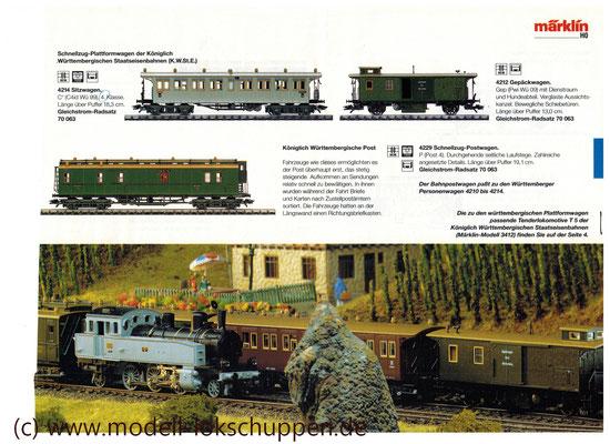 Württemberger Personenzug: Tenderlok T5 und 7 Plattformwagen