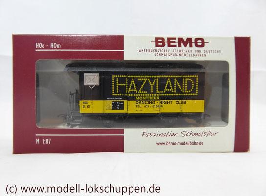 Werbewagen - Gedeckter Güterwagen - Gk 527 - HAZYLAND MONTREUX - Bremserbühne - MOB - H0m / Bemo 2274 337