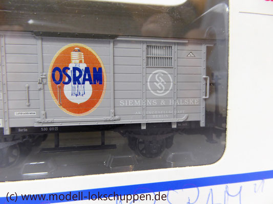 """Insider-Wagen 1997 Gedeckter Güterwagen mit Flachdach """"Osram"""" / H0 Märklin 48853     1"""