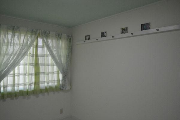 カーテンは特注品、CD,DVDも飾れる。