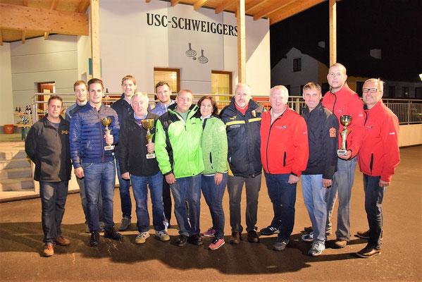 Siegerbild 1. bis 3. Platz mit Unionsobfrau Manuela Haider und Sektionsleiter Alexander Dorn
