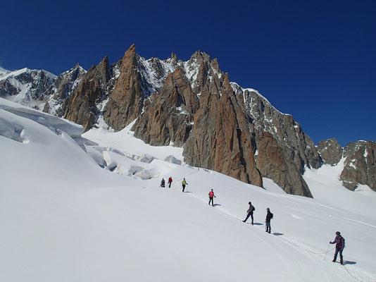 Cordées sur le Glacier du Géant