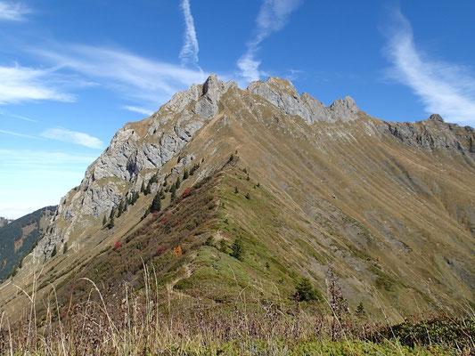 Au retour vers le Col du Foron, regard vers le Roc. De gauche à droite: sommet Ouest, Pointe de Haute-Béne, Roc d'Enfer point culminant, sommet Est