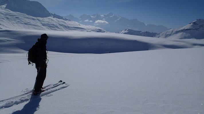 Yann sur le Désert de Platé. Grands espaces et Mont-Blanc