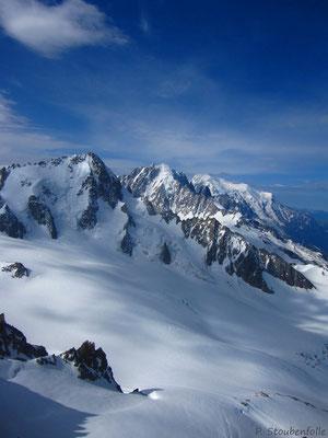 La vue du sommet vers le Mont Blanc.