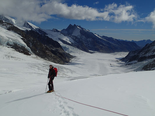 Gérard sur le haut glacier d'Aletsch, avec vue sur la Konkordiaplatz.