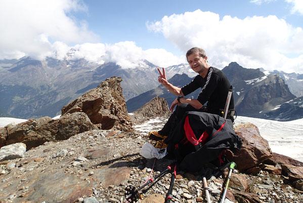 Gérard au milieu des glaciers de Saas-Fee