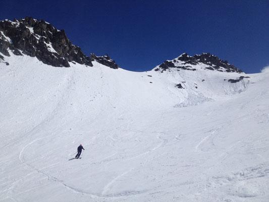 Bon ski dans la combe