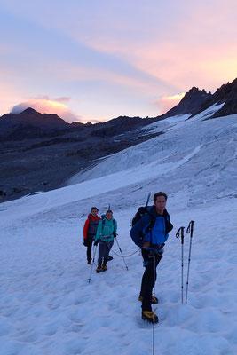 Pierre, Carole et Bruno sur le Laveciau aux petit matin