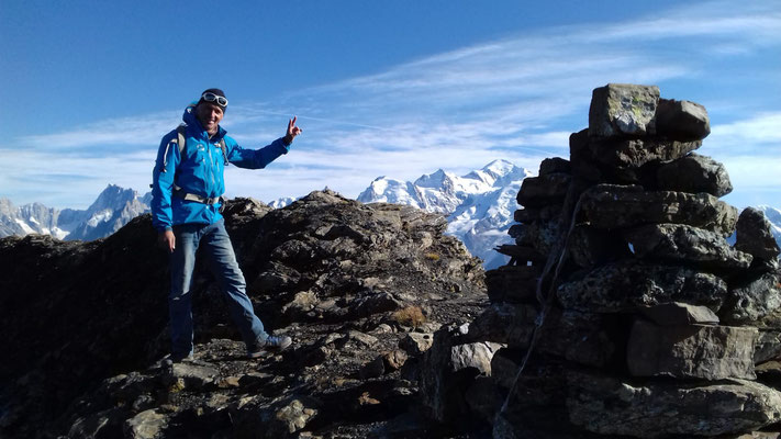 Au sommet, vue splendide sur le Massif du Mt-Blanc