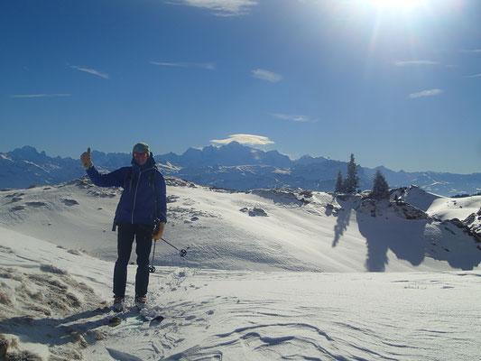 Alexis à la pause au Col de Vésinaz
