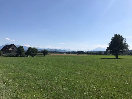 Blick Richtung Zentralschweizer Alpen, Hünenberg, Kanton Zug