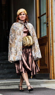 Vintage Kleid Kupfer, Wendecape klennes