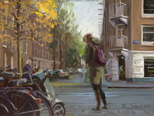 Even whatsappen op de van Woustraat. Olieverf op doek. 30 x 40 cm