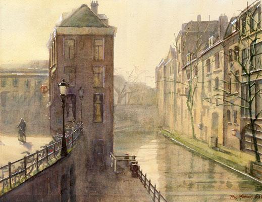 Oude Gracht, Utrecht. Aquarel. 30 x 40 cm