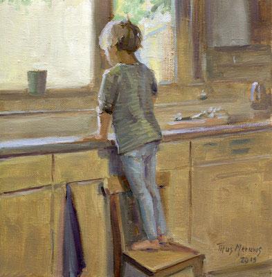 Merlijntje Handjes wassen. Olieverf op doek. 30 x 30 cm
