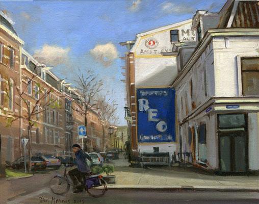 Weesperzijde Blasiusstraat. Olieverf op doek. 32 x 36 cm