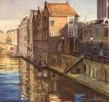 Oude Gracht, Utrecht. Aquarel. 40 x 40 cm