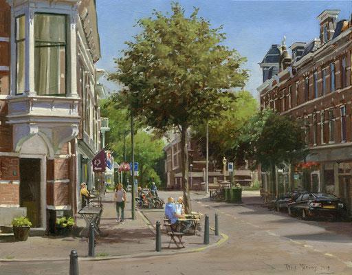 Weimarstraat Lolapoloza Den Haag. Olieverf op doek. 35 x 50 cm