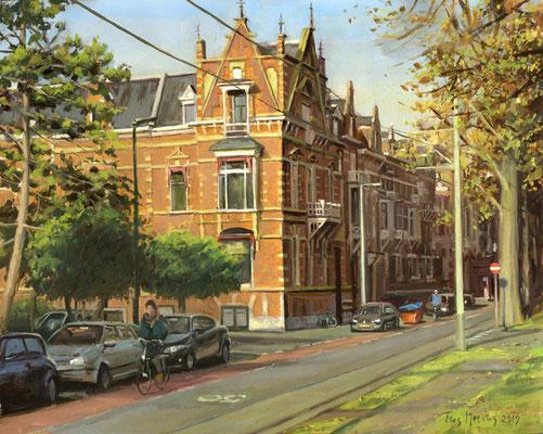 Sweelinckplein Den Haag. Olieverf op doek. 35 x 50 cm