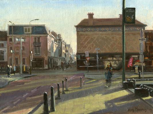Noordeinde vanuit Zeestraat, Den Haag. Oilieverf op doek. 30 x 40 cm
