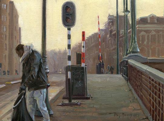 Gemeentewerker op de Nieuwe Amstelbrug II. Olieverf op doek. 30 x 40 cm