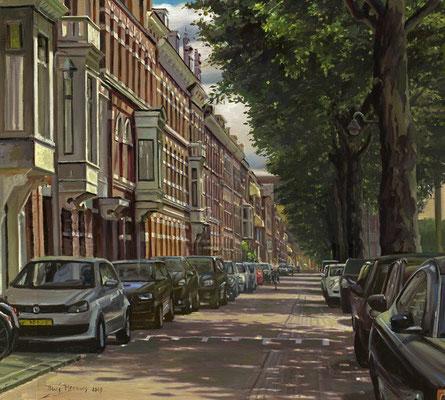 Conradkade Den Haag. Olieverf op doek. 40 x 40 cm