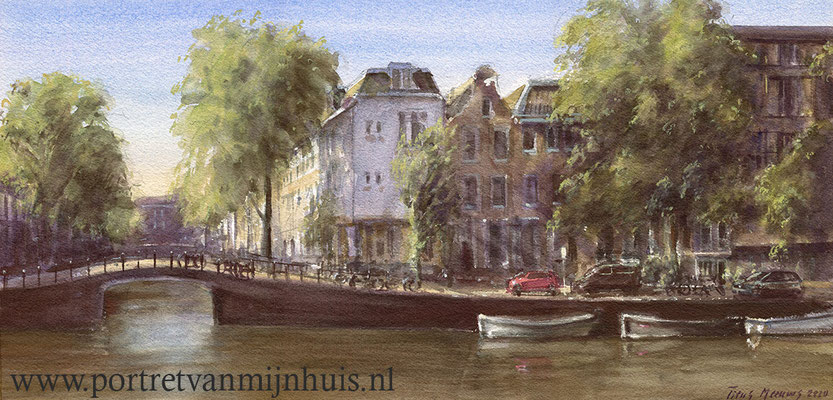 Prinsengracht, Amsterdam. Aquarel. 30 x 60 cm