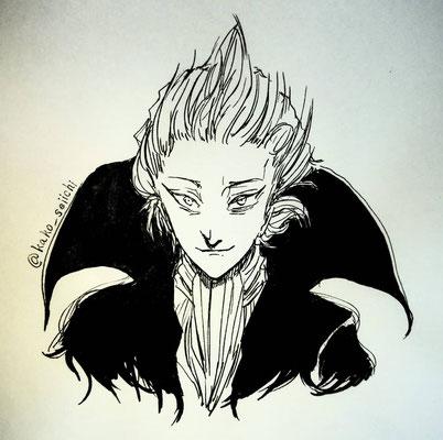 加古精一さんの小説『Pretense of God』より、ギリアン。スラリとした黒コート姿と立ち昇る白髪がカッコイイキャラ。