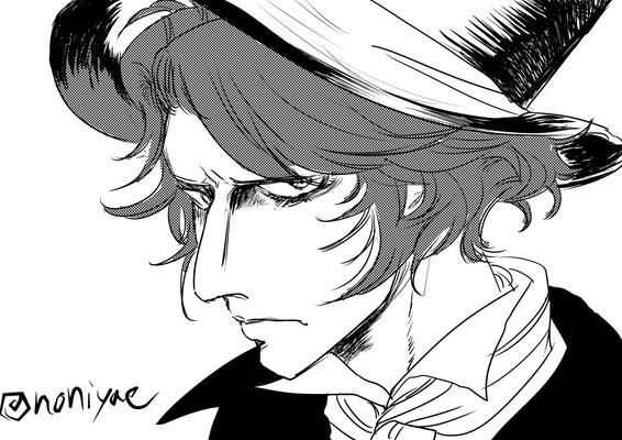 Noniさんより、ゴーシュ。目つきの鋭さと男性的な首筋・顔立ちがカッコイイです!襟周りや髪型からワイルドさ醸し出してる……