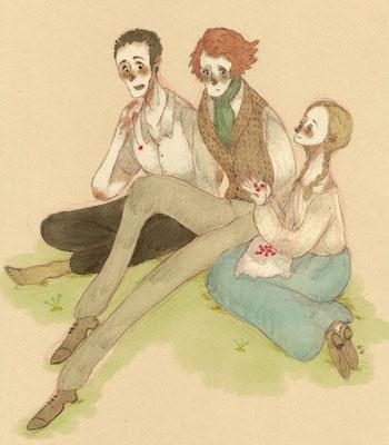 がおさんより、フィリップゴーシュエステル3人組。絵本のような、素朴な雰囲気が素敵です。エステルの笑顔の眩しいこと……!