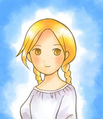 奥村あゆみさんより、エステル。可愛さ&素朴さ増し増しで話しかけたい……そばかすの位置という細かい設定まで覚えて&再現していただきました。