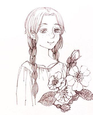 松野ヤヱさんより、エステル。美人で微笑みにも艶があって、細い描線とマッチしてます!イメージの野薔薇も添えてもらいました。