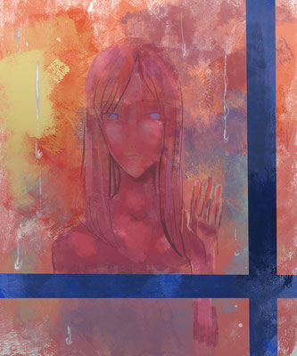 八重さんより、窓辺の少女の絵のリメイク。窓枠の濃い青のエッジが効いていて、光と闇の混じり具合が素敵に描かれています!