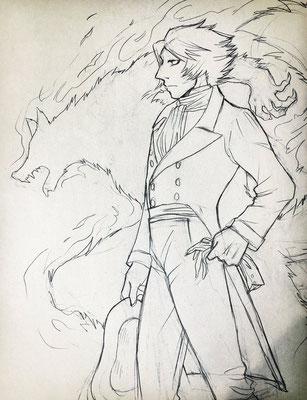佐倉シノブさんより、ゴーシュ。線画を頂いて私が塗るというものでした。人狼の影と対な構図がかっこいいです!漢らしく、強そう……!