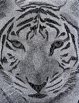 string art porträt nr. 31   -   47 x 61 cm   -   tiger   -   available