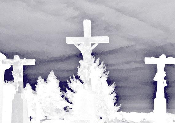 2020-04-10 « Cruxifiés », peinture numérique, 30 x 21 cm ©sylvie lander