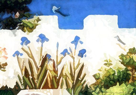 2020-03-21 «Iris et oiseau», peinture numérique, 30 x 21 cm ©sylvie lander d'après le Paradiesgärtel