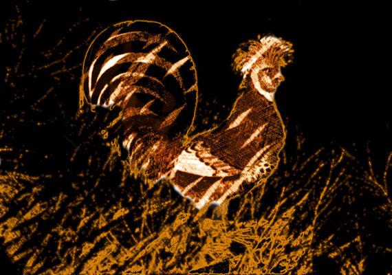 2020-04-25 « Coquelet arrogant au sommet », peinture numérique, 30 x 21 cm ©sylvie lander