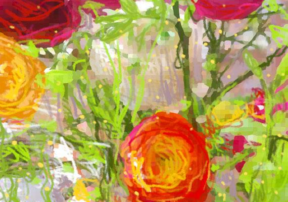 2020-03-20 jour du printemps «Renoncules», peinture numérique, 30 x 21 cm ©sylvie lander
