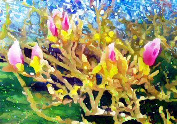 2020-03-23 «Magnolias », peinture numérique, 30 x 21 cm ©sylvie lander
