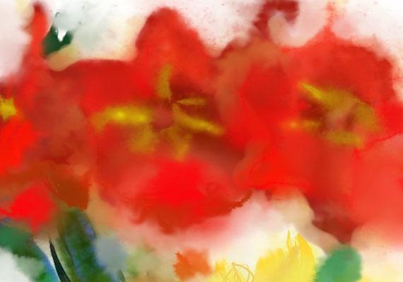 2020-04-07 « Trois fleurs », peinture numérique, 30 x 21 cm ©sylvie lander